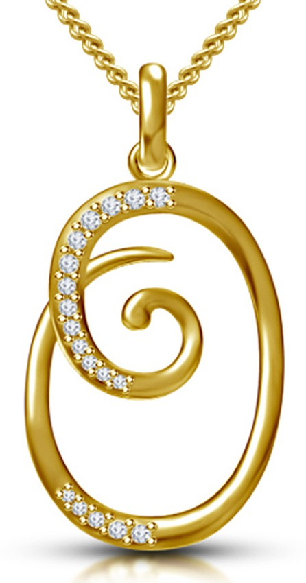 Kataria Jewellers Letter O Gold Plated 92 5 Sterling Silver And Swarovski  Alphabet Initial Pendant ad9b7055374