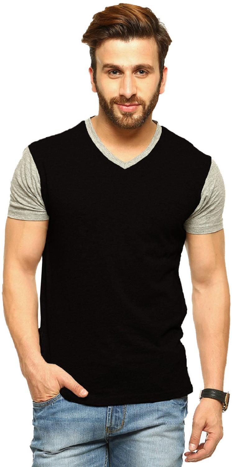 Tripr Solid Men's V-neck Multicolor, Black, Grey T-Shirt